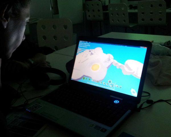 Eine Frau schaut auf den Bildschirm eines Laptops.